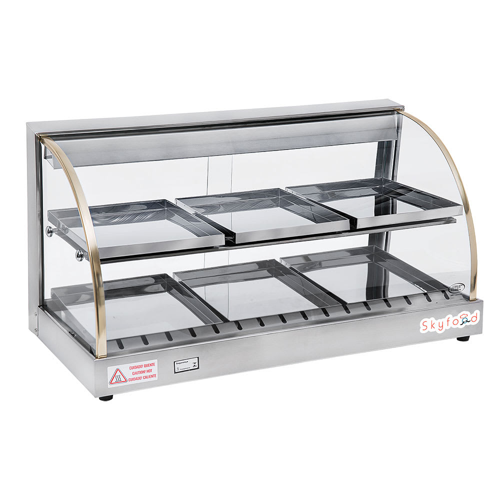 "Skyfood FWD2-33 33.13"" Full-Service Countertop Heated Display Case w/ Curved Glass - (2) Levels, 110v"