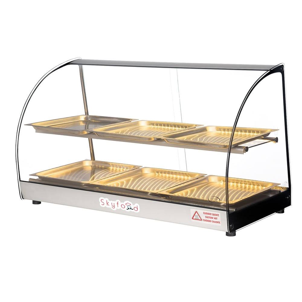"""Skyfood FWD2-33-6P 33"""" Full-Service Countertop Heated Display Case w/ Curved Glass - (2) Levels, 120v"""