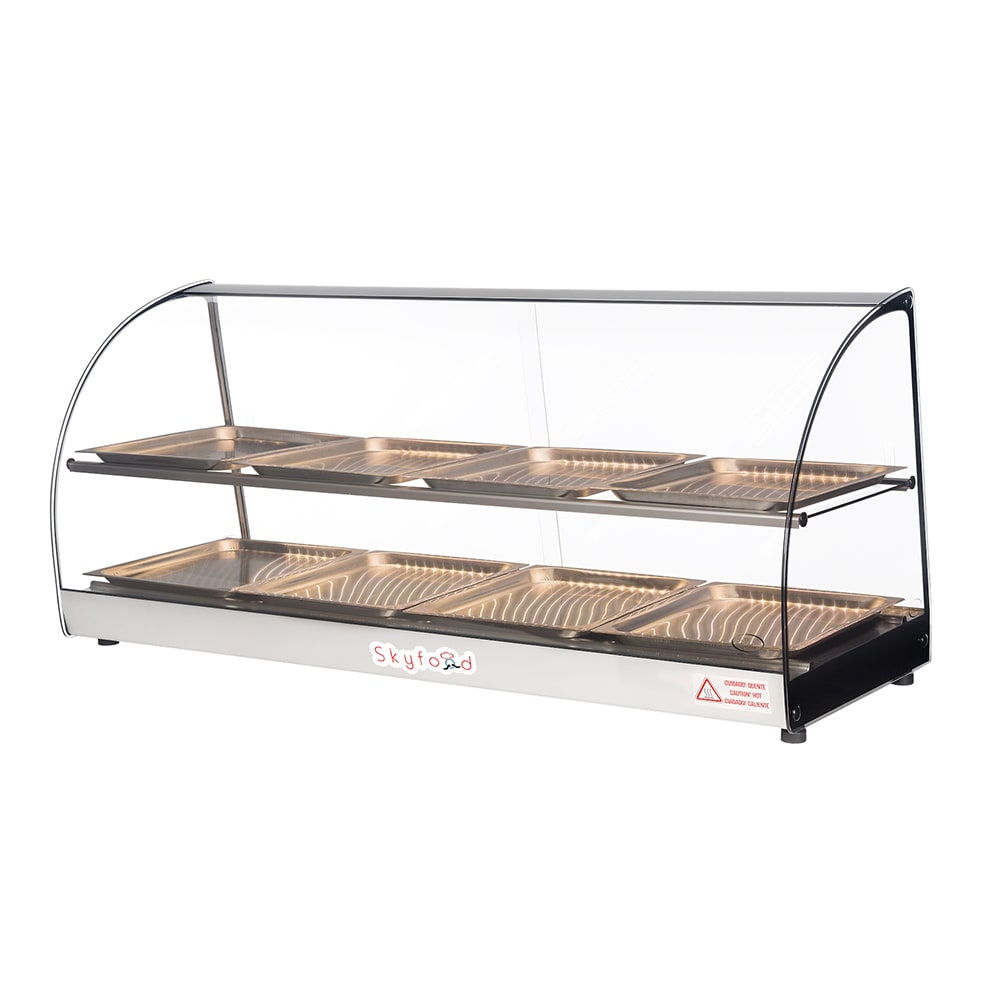 "Skyfood FWD2-43-8P 43"" Full-Service Countertop Heated Display Case w/ Curved Glass - (2) Levels, 120v"
