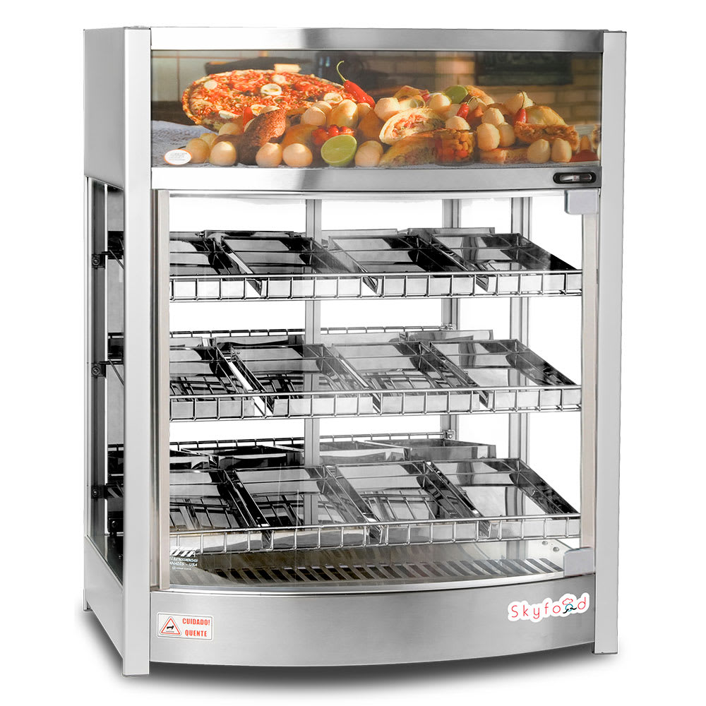 """Skyfood FWD3S12PS 26"""" Full-Service Countertop Heated Display Case - (3) Shelves, 110v"""