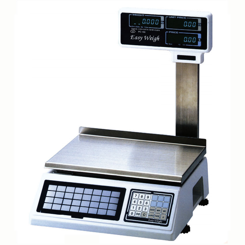 Skyfood PC-100-PL 60-lb Dual Range Electronic Price Computing Scale w/ Elevated LCD