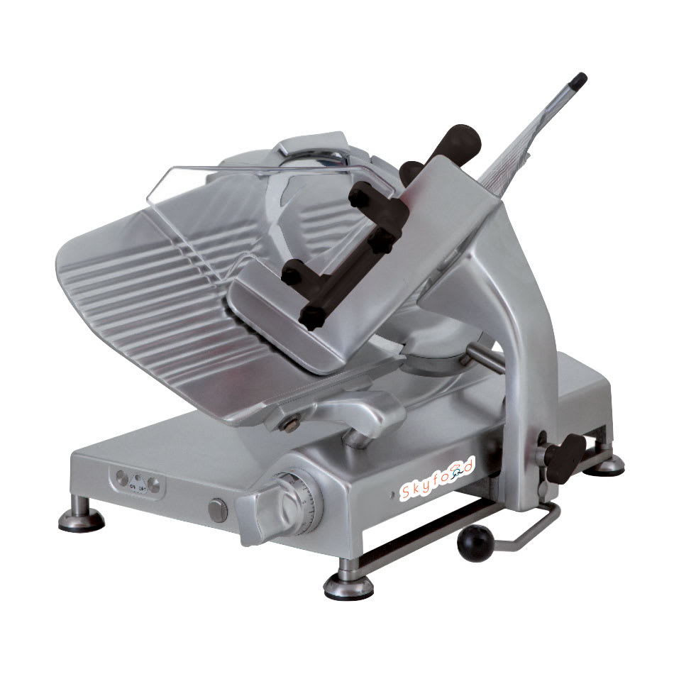 """Skyfood SSI-13G 13"""" Meat Slicer - 45 Degree Gravity Feed, Dual-Action Removable Sharpener, Aluminum"""