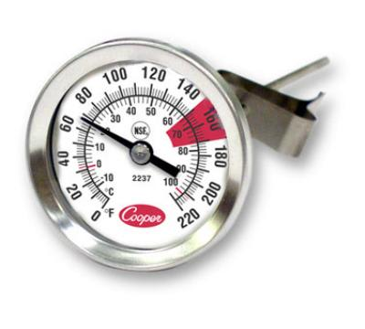 """Cooper 2237-04-8 Espresso Thermomter, 1-3/4""""Dial, 0 to 220 F, Glass Lens, NSF"""