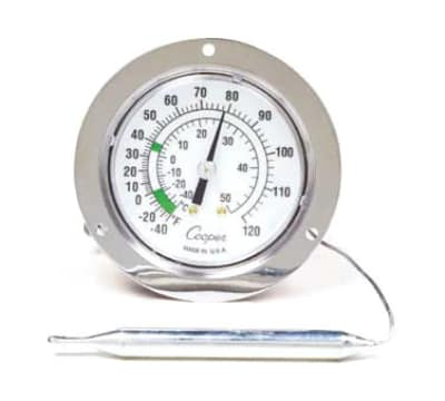 "Cooper 7112-02-3 2.5"" Panel Type Thermometer w/ Front Flange, -40 To 60-Degrees F"