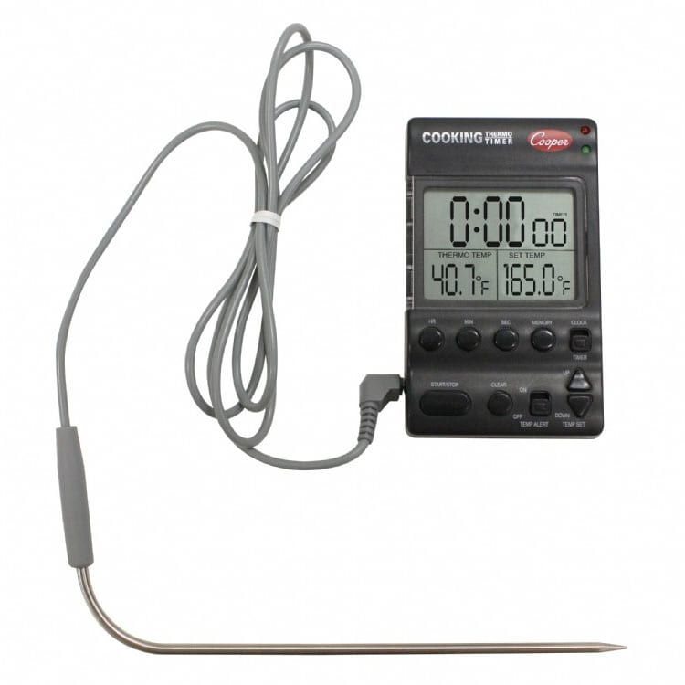 "Cooper DTT361-0-8 Electric Cooking Thermo-Timer w/ 6-1/2""  Heat Resistant Probe"