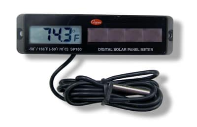 Cooper SP160-0-8 Solar Powered Panel Type Thermometer, -58 To 158-Degrees F, Black