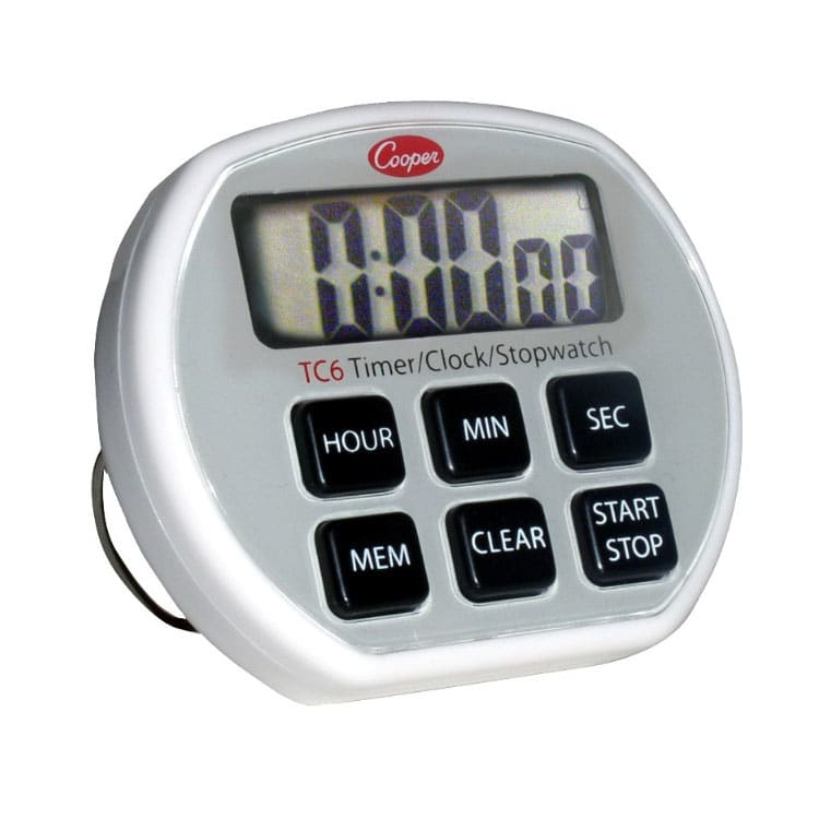 Cooper TC6-0-8 Digital Timer / Clock / Stopwatch, 24 Hr, 1 sec Increments, Memory