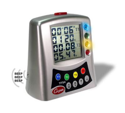 Cooper TFS4-0-8 Multi-Station Timer, 4-Station LCD w/ Alerts, Countdown/Count Up