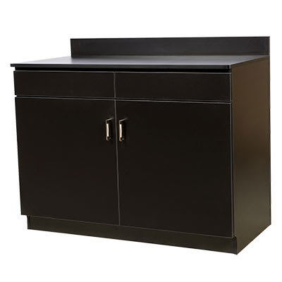 "Oak Street M8220-BLK-UNASSEMBLED 48"" Waitress Station w/ 2 Drawer & 2 Door, Black Melamine Frame"
