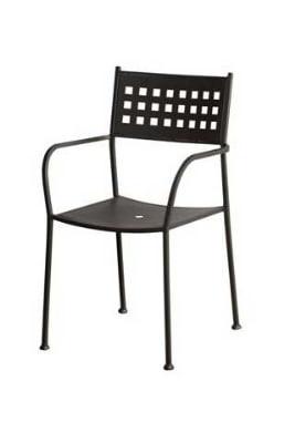 Oak Street OD3114 Outdoor Arm Chair w/ Metal Basket Back & Metal Seat, Charcoal