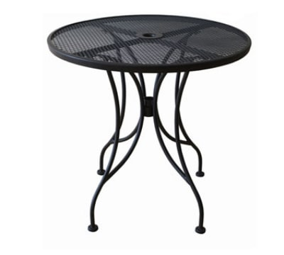 Oak Street OD36R 36-in Round Outdoor Table w/ Mesh Top & Umbrella Hole, Black