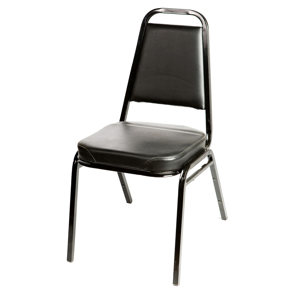 Oak Street SL2082-BLK Stacking Chair w/ Tapered Square Back, Vinyl Back & Seat, Black