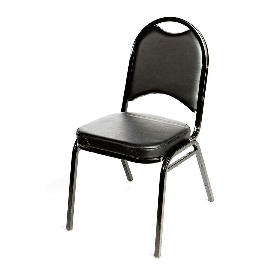 Oak Street SL2089-BLK Stacking Banquet Chair w/ Rounded Back, Vinyl Back & Seat, Black
