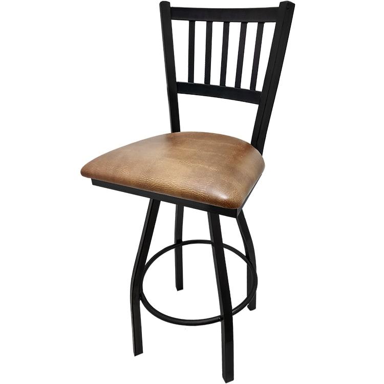 Oak Street Sl2090 S Swivel Bar Stool W Metal Vertical Back Foot Rest Buckskin Vinyl Seat