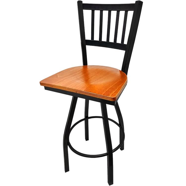 Oak Street SL2090-S-C Swivel Bar Stool w/ Metal Vertical Back & Foot Rest, Cherry Wood Seat