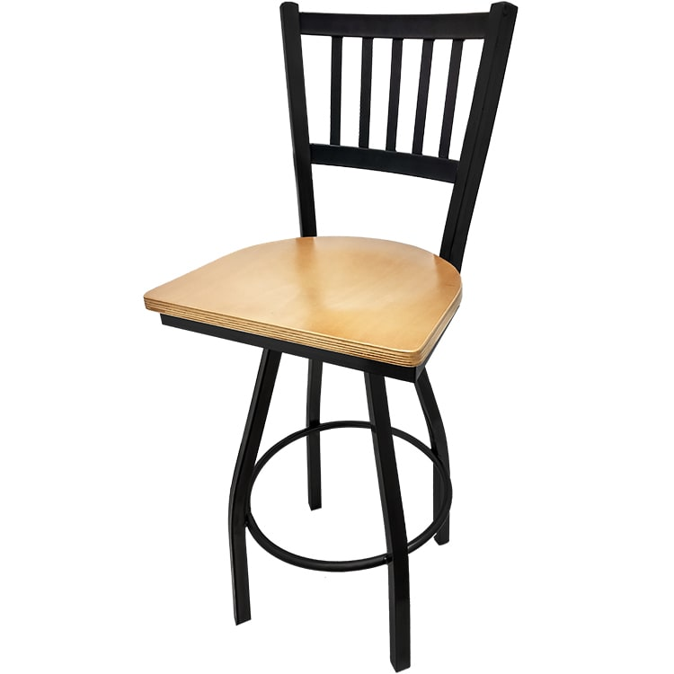 Oak Street SL2090-S-N Swivel Bar Stool w/ Metal Vertical Back & Foot Rest, Natural Wood Seat