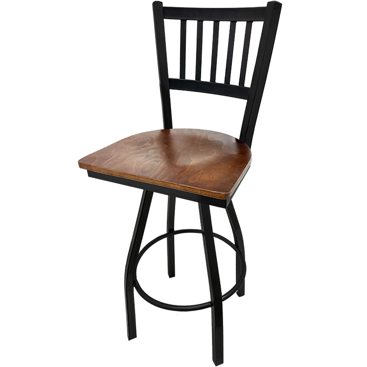 Oak Street SL2090-S-WA Swivel Bar Stool w/ Metal Vertical Back & Foot Rest, Walnut Wood Seat