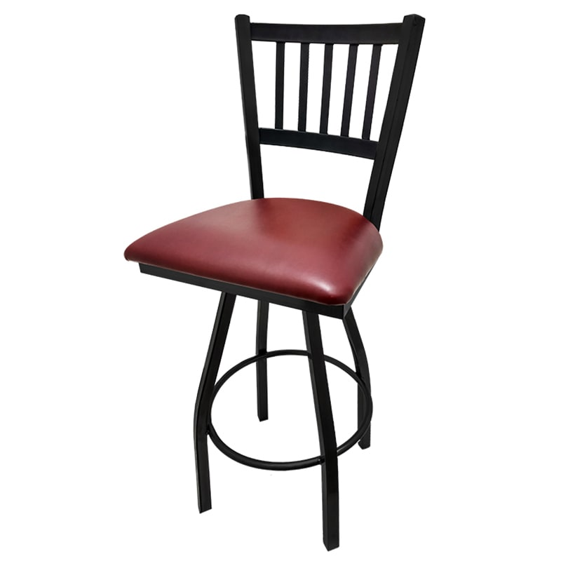 Oak Street Sl2090 S Wine Swivel Bar Stool W Metal Vertical Back Foot Rest Vinyl Seat