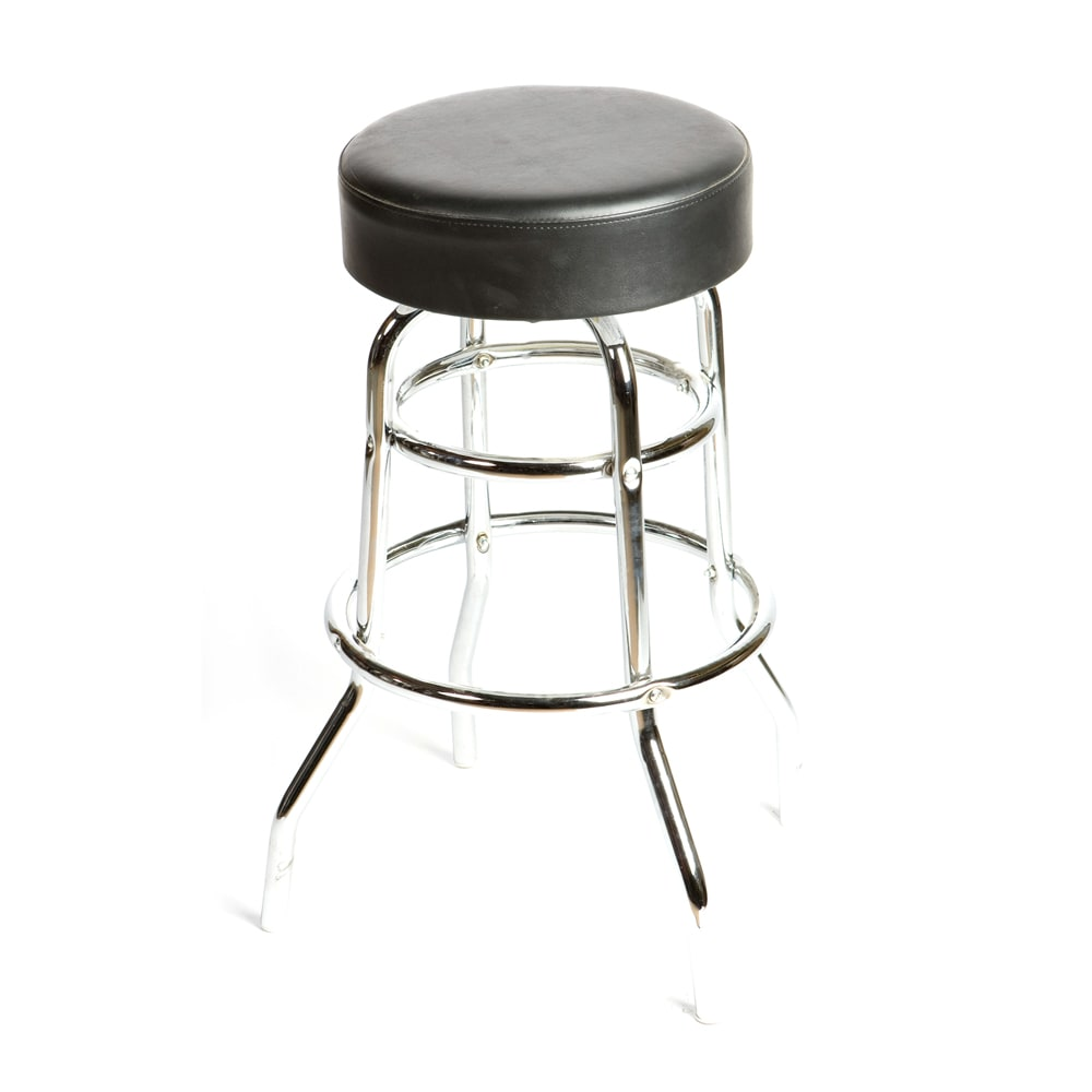 Oak Street SL2129-BLK Swivel Bar Stool w/ Round Black Vinyl Seat & Double Ring Base