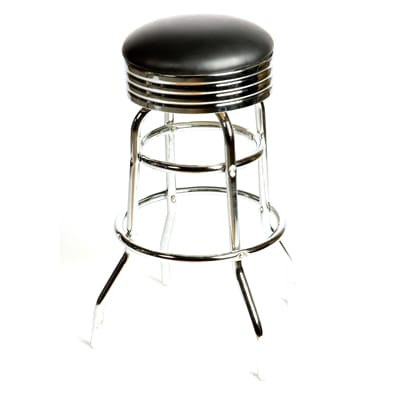 Astounding Oak Street Sl2131 Blk Swivel Bar Stool W Round Black Seat Retro Ribbed Chrome Band Beatyapartments Chair Design Images Beatyapartmentscom