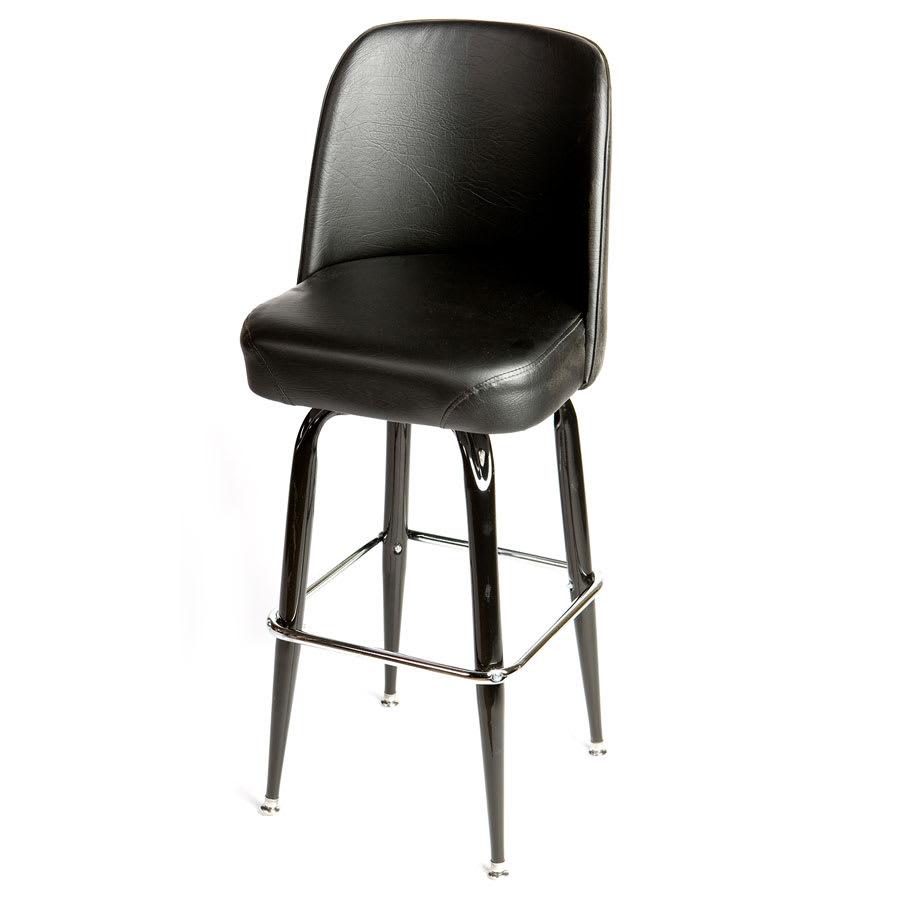 Oak Street SL2133-BLK Swivel Bar Stool w/ Square Single Chrome Ring & Black Bucket Seat