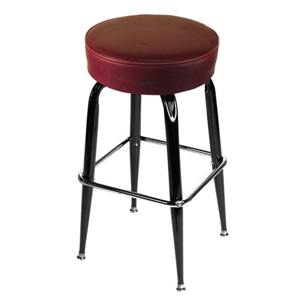Oak Street SL2135-WINE Swivel Bar Stool w/ Single Chrome Ring & Wine Button Top Seat