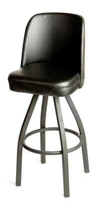 Oak Street SL2136-BLK Swivel Bar Stool w/ Single Ring & Black Vinyl Bucket Seat