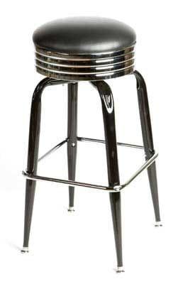 Oak Street SL2138-BLK Swivel Bar Stool w/ Retro Ribbed Chrome Band & Black Round Seat