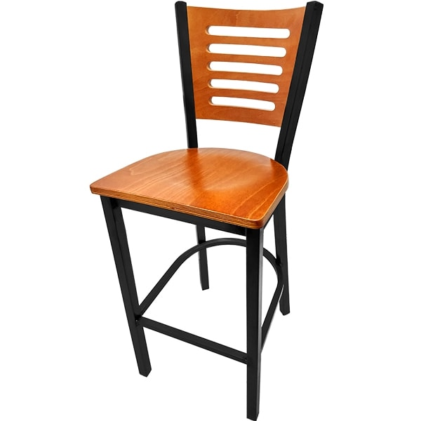 Oak Street SL2150-1-5 Bar Stool w/ 5-Line Solid Birch Back & Black Powder Coated Frame