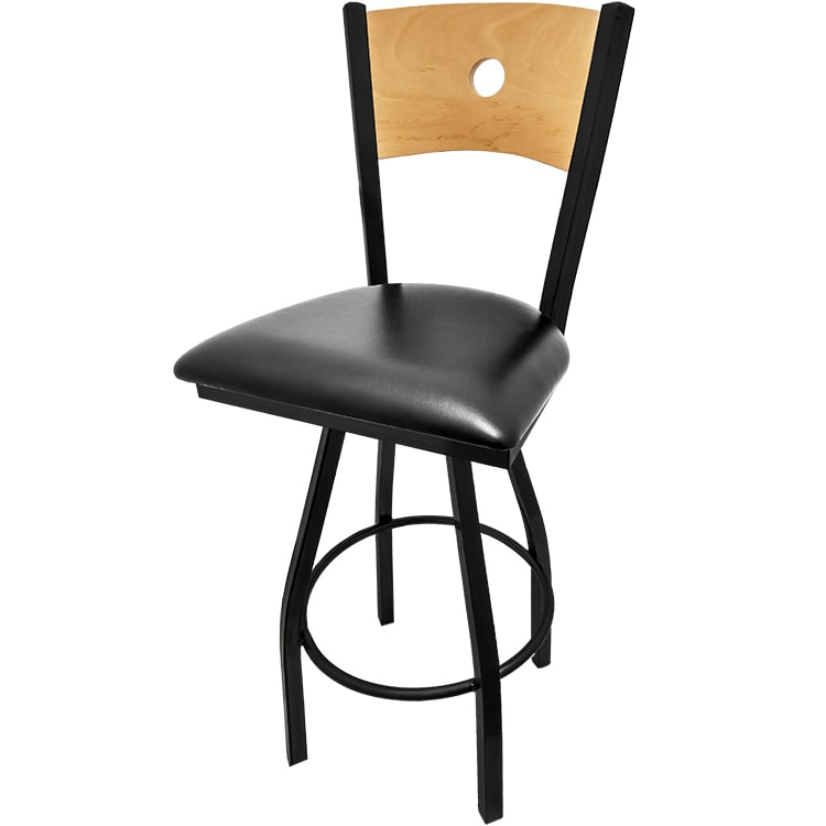 Oak Street SL2150-1S-B Swivel Bar Stool w/ Bullseye Solid Birch Back & Black Powder Frame