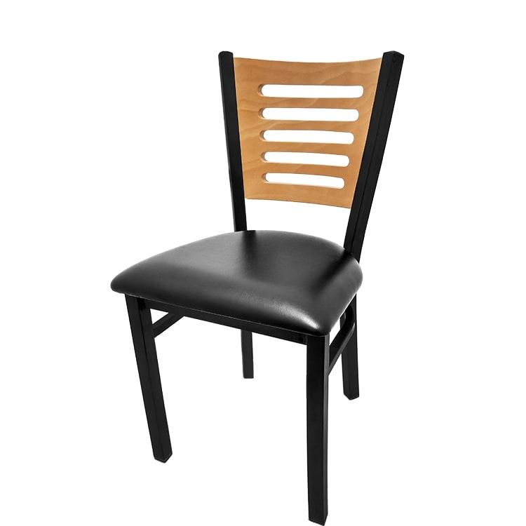 Oak Street SL2150-5 Dining Chair w/ 5-Line Solid Birch Back & Black Powder Frame