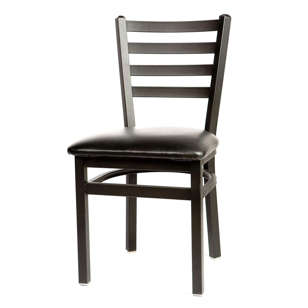 Oak Street SL2160 Dining Chair w/ Metal Ladder Back & Black Powder Coated Frame