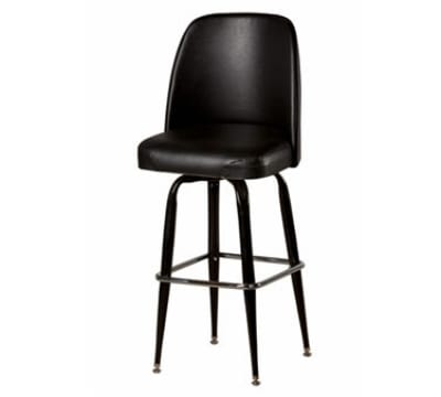Oak Street SL3133-BLK Swivel Bar Stool w/ Square Ring & Black Vinyl Foam Bucket Seat