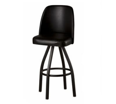 Oak Street SL3136-BLK Swivel Bar Stool w/ Single Ring & Black Vinyl Foam Bucket Seat