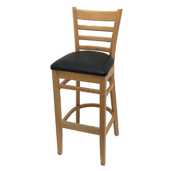 Oak Street WB101NT Beech Frame Bar Stool w/ Ladder Back & Wood Seat, Natural Finish