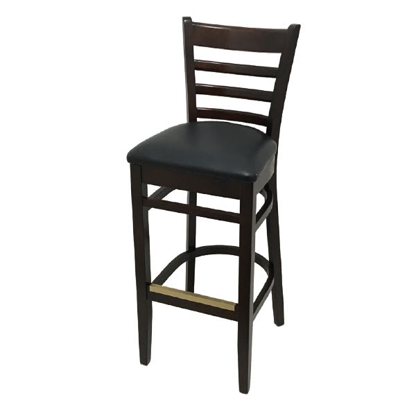 Stupendous Oak Street Wb101Wa Ladder Back Bar Stool W Vinyl Seat Beechwood Frame Walnut Finish Gmtry Best Dining Table And Chair Ideas Images Gmtryco