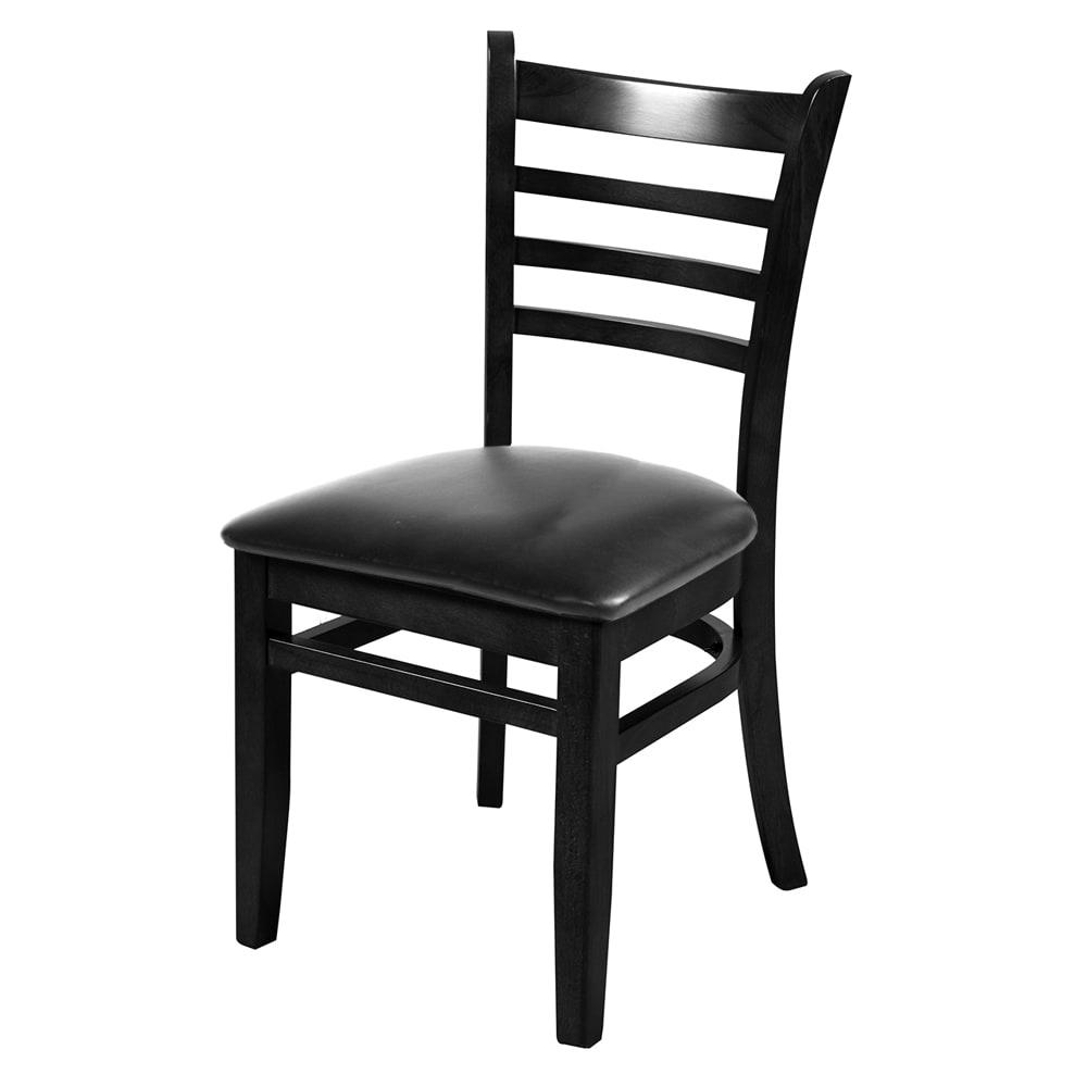 Oak Street WC101BLK Beech Frame Dining Chair w/ Ladder Back, Black Finish