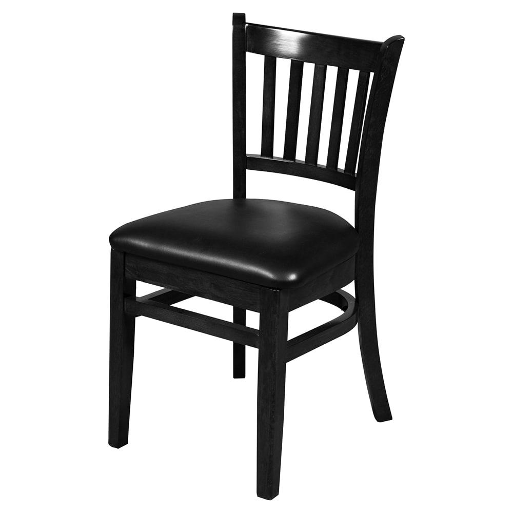 Oak Street WC102BLK Vertical Back Dining Chair w/ Vinyl Seat & Beechwood Frame, Black Finish