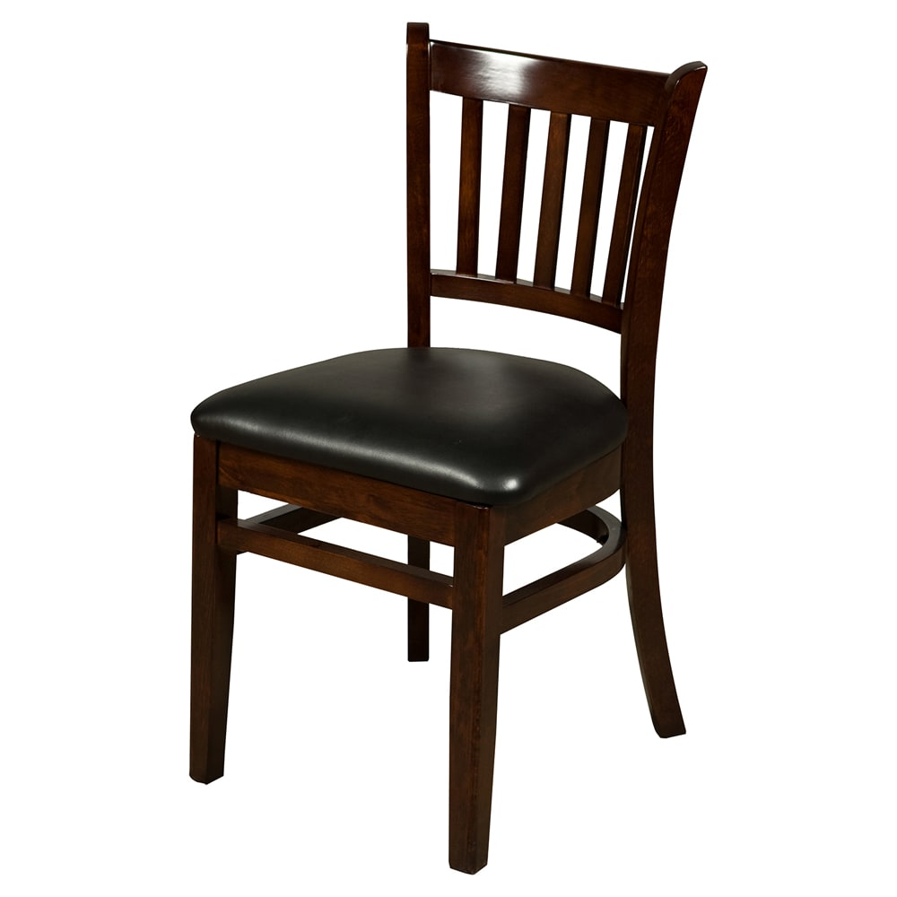 Oak Street WC102WA Beech Frame Dining Chair w/ Vertical Back & Wood Seat, Walnut