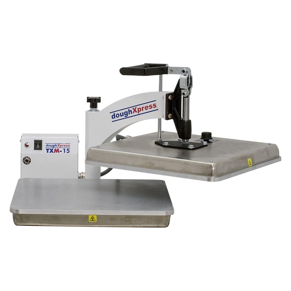 """DoughXpress TXM-15 Manual Tortilla Pizza Dough Press, 15 x 15"""" Platen, Export"""