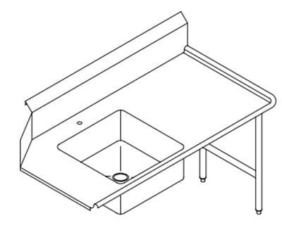 Select Stainless 9SDR 108-in Soilded Dishtable w/ 9-in Splash & 20x20x8-in Pre-Rinse Sink, RH