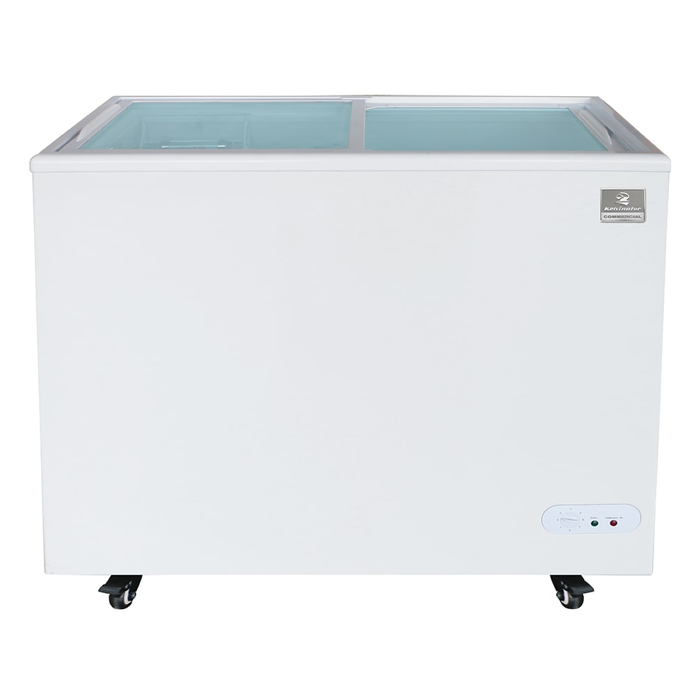 "Kelvinator Commercial KCNF073WS 37.81"" Mobile Ice Cream Freezer w/ Wire Storage Basket - White, 120v"