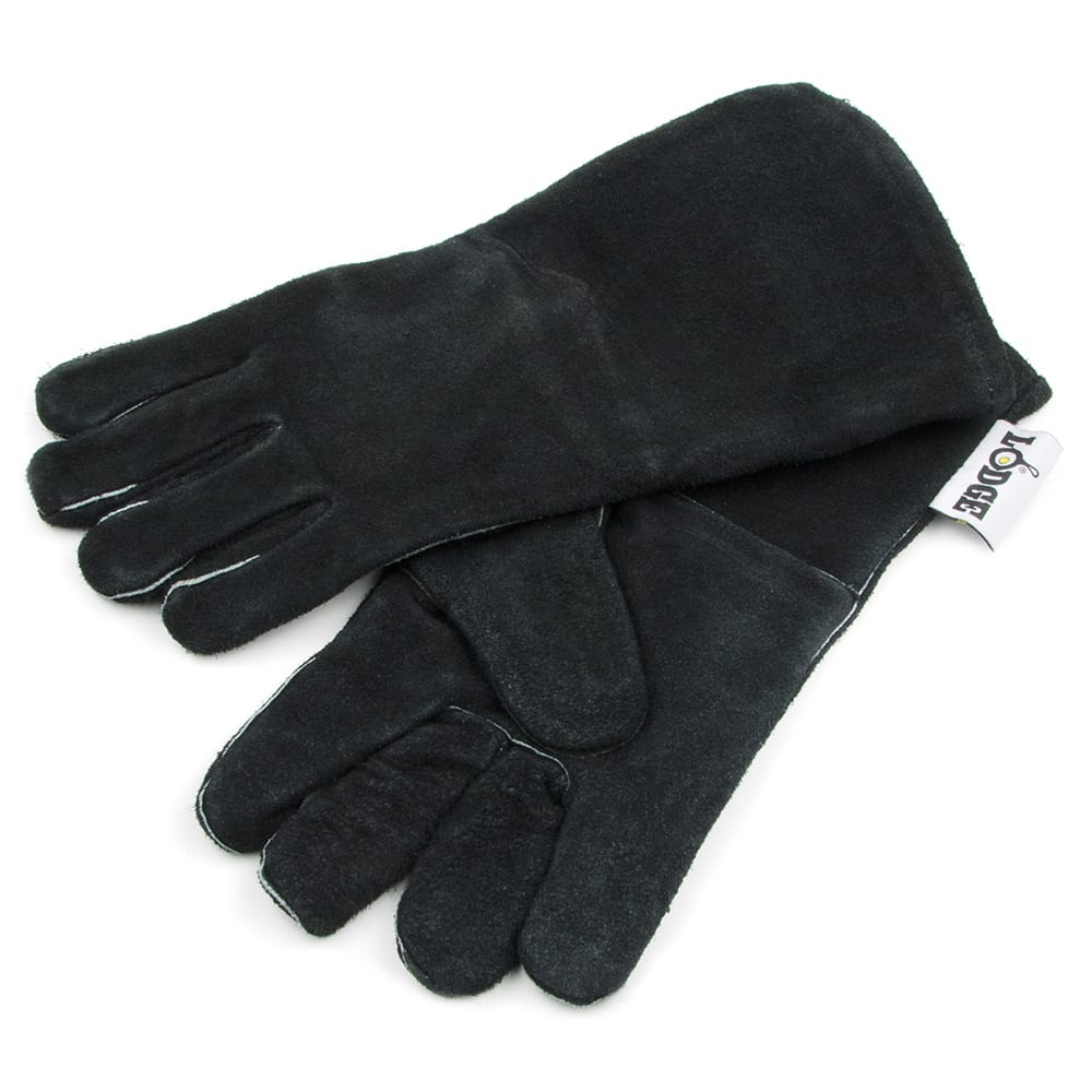 """Lodge A5-2 13.5"""" Camp Gloves w/ 400 Degree Heat Protection, Black Leather"""