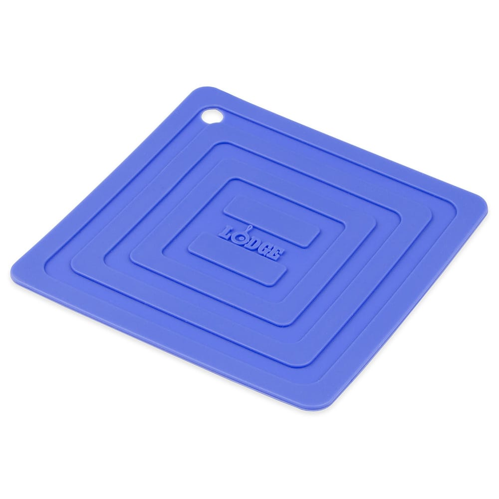 "Lodge AS6S31 Square Silicone Potholder, Heat Resistant to 250°F, 5.87x5.87"", Blue"