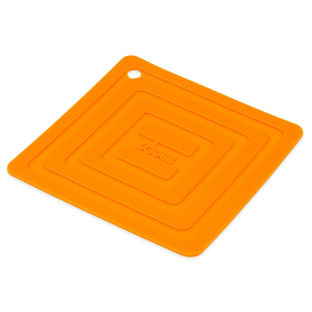 "Lodge AS6S61 Square Silicone Potholder, Heat Resistant to 250°F, 5.87x5.87"", Orange"