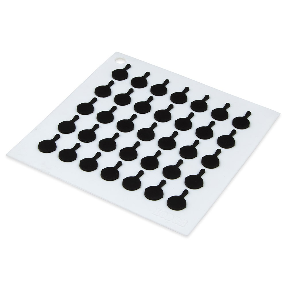 "Lodge AS7S01 Silicone Square Trivet w/ Black Logo Skillets, 7x7"", White"