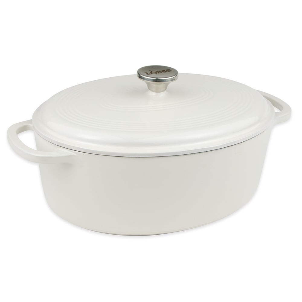 Lodge EC70D13 7-qt Cast Iron Dutch Oven, Enamel, Oyster White
