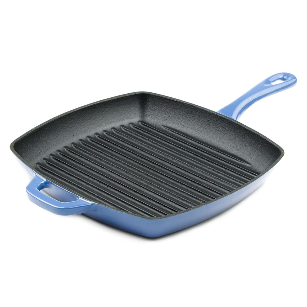 "Lodge ECSGP33 10"" Square Cast Iron Grill Pan w/ Matte Black Enamel Interior, Caribbean"