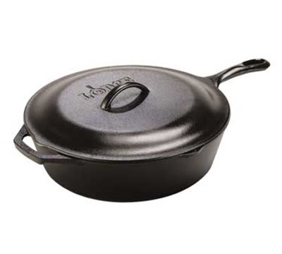 Lodge L10CF3 5 qt Deep Cast Iron Seasoned Skillet w/ Cover