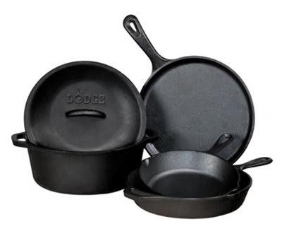 Lodge L5HS3 5-Piece Cast Iron Cooking Set w/ Griddle, 2-Skillets, Dutch Oven & Cover